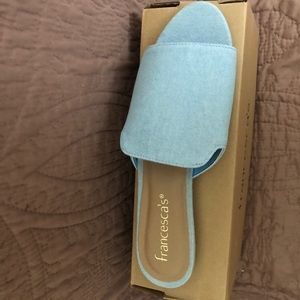 🌿NWB Francesca's Chambray Peep Toe Flat